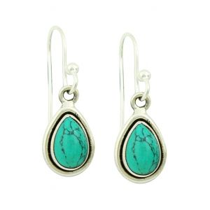 Turquoise Droplet Silver Earrings