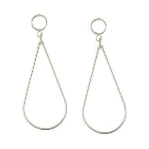 Delicate Peardrop Silver Long Dangle Earrings