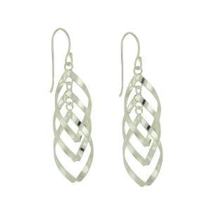 Tangle Trio Silver Drop Earrings