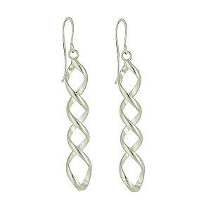 Falling Twist Silver Long Earrings