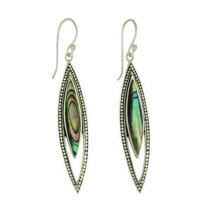 Abalone Slither Silver Long Earrings