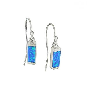 Blue Opal Cuboid Silver Earrings