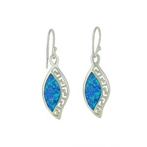 Geo Etched Blue Opal Drop Earrings