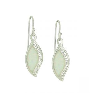 Geo Etched White Opal Earrings