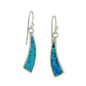 Blue Opal Bolt Strike Dangle Earrings