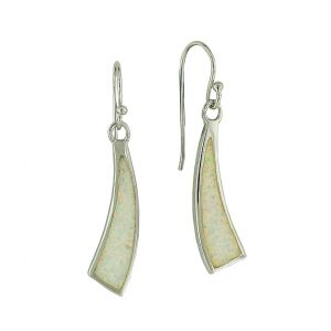 White Opal Bolt Strike Dangle Earrings