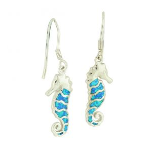 Blue Opal Seahorse Silver Drop Earrings