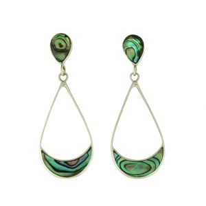 Abalone Cradle Silver Dangle Earrings