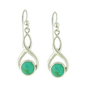 Turquoise Clef Silver Drop Earrings