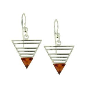 Geometric Amber Tipped Silver Earrings