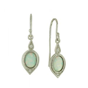 Vintage White Opal Drop Earrings