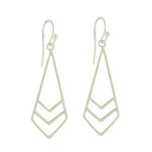 Silver Chevron Drop Earrings