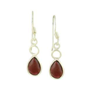 Pear Shaped Silver Garnet Earrings