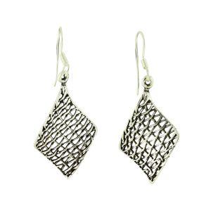 Silver Grid Small Drop Earrings