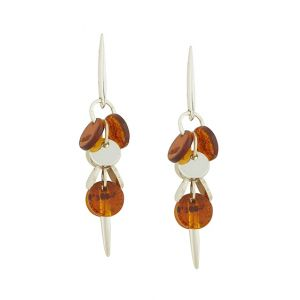 Amber and Silver Circlet Drop Earrings