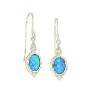 Vintage Blue Opal Drop Earrings