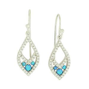 Blue Opal and Cubic Zirconia Drop Earrings