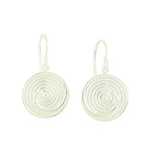 Snail Shell Silver Drop Earrings