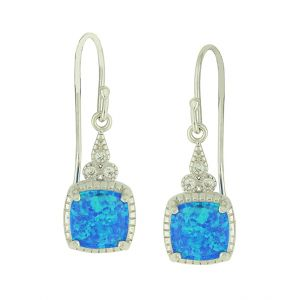 Blue Opal Trio Link Drop Earrings