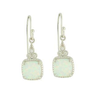 White Opal Trio Link Drop Earrings