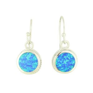 Blue Opal Bedazzle Silver Earrings
