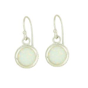 White Opal Bedazzle Silver Earrings