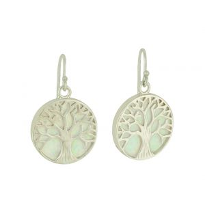 White Opal Tree of Life Silver Earrings