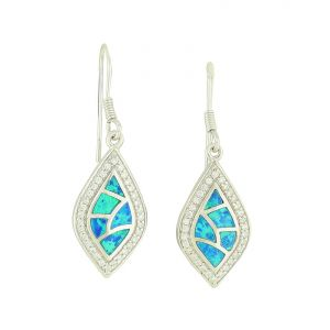 Blue Opal Crackle Drop Earrings