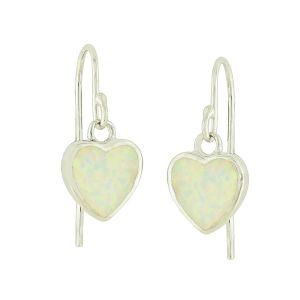 White Lab Opal Silver Heart Earrings