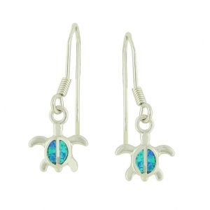 Blue Opal Turtle Drop Earrings