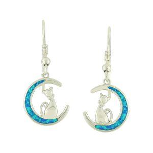 Blue Opal Moon and Cat Drop Earrings