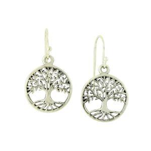 Spiritual Symbol Tree of Life Silver Drop Earrings