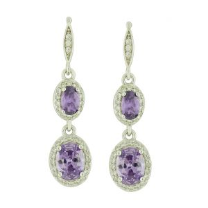 Bygone Duet Amethyst Drop Earrings