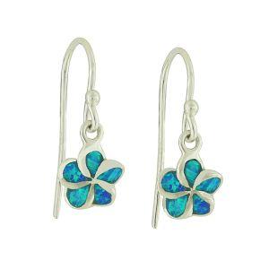 Plumeria Flower Blue Opal Drop Earrings