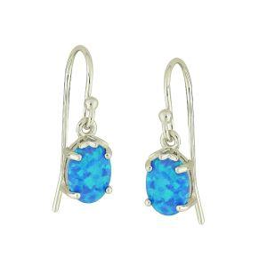 Blue Opal Innocence Silver Drop Earrings