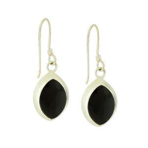 Black Onyx Shapely Drop Earrings