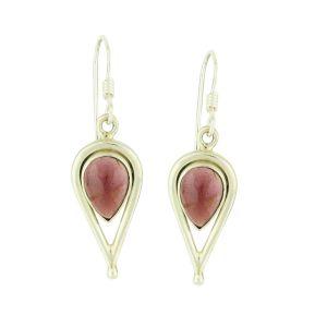 Open Water Drop and Garnet Silver Earrings