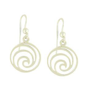Oceanic Wave Silver Drop Earrings