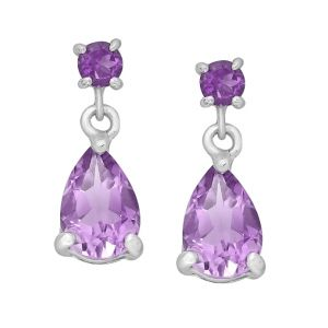 Amethyst Studded Drop Earrings