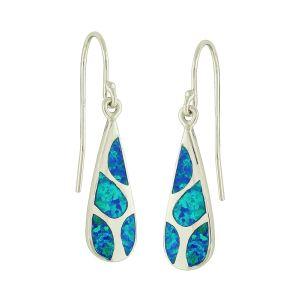 Mosaic Blue Opal Silver Drop Earrings