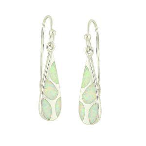 Mosaic White Opal Silver Drop Earrings