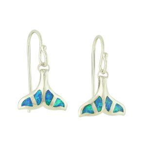 Blue Opal Whale Tail Earrings