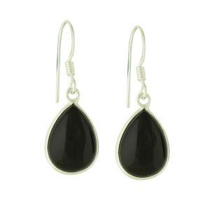 Dewdrop Black Onyx Silver Earrings