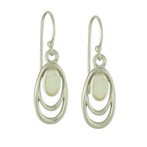 White Opal Smile Drop Earrings