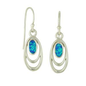 Blue Opal Smile Drop Earrings