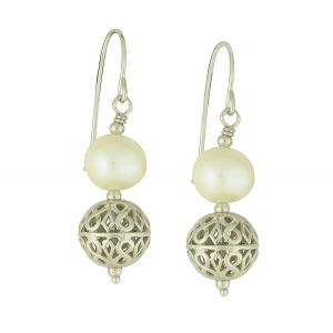 Pearl and Bead Silver Drop Earrings