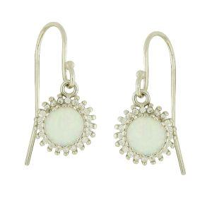 White Opal Sunburst Drop Earrings