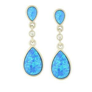 Blue Opal Pendulum Drop Earrings