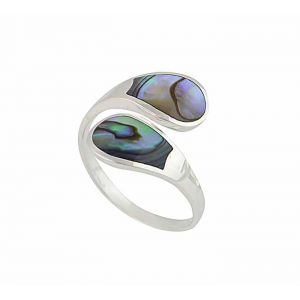 Abalone Adjustable Silver Ring
