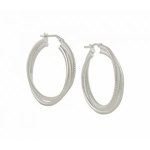 Textured and Plain Silver Hoop Earrings - 30mm